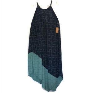 Asymmetrical spaghetti strap 2 toned sun dress